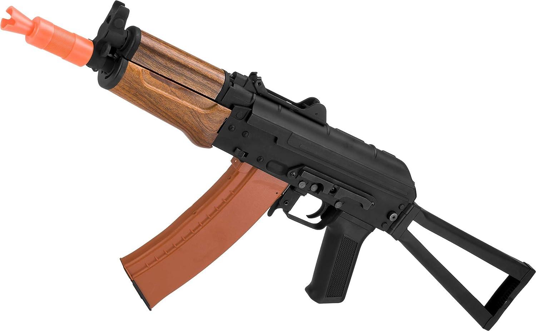 Evike Full Metal AKS-74U / AK-74 Airsoft AEG Rifle with Imitation Wood Furniture by CYMA -