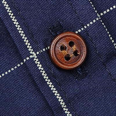 YIMANIE Men's Slim Fit Long Sleeve Plaid Button Down Dress Shirt