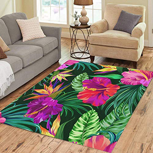 Pinbeam Area Rug Amazing Tropical Flowers Patten Gorgeus Botanical Hibiscus Palm Home Decor Floor Rug 5' x 7' - Tropical Flowers Colorful