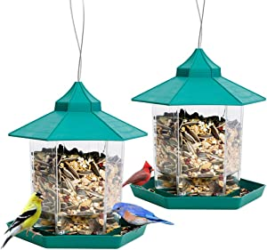 Solution4Patio Expert in Garden Creation #G-B127A00-US 2 Pack Hexagon Shaped Gazebo Wild Bird Feeder Panorama, Plastic, Easy to Clean, Weatherproof, 1.45 GAL(5.48 L) Capacity, for Outdoor Patio Garden