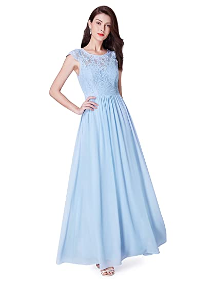 Ever Pretty Womens Elegant Round Neck Lace Chiffon Floor Length Evening Dresses 8UK Sky Blue