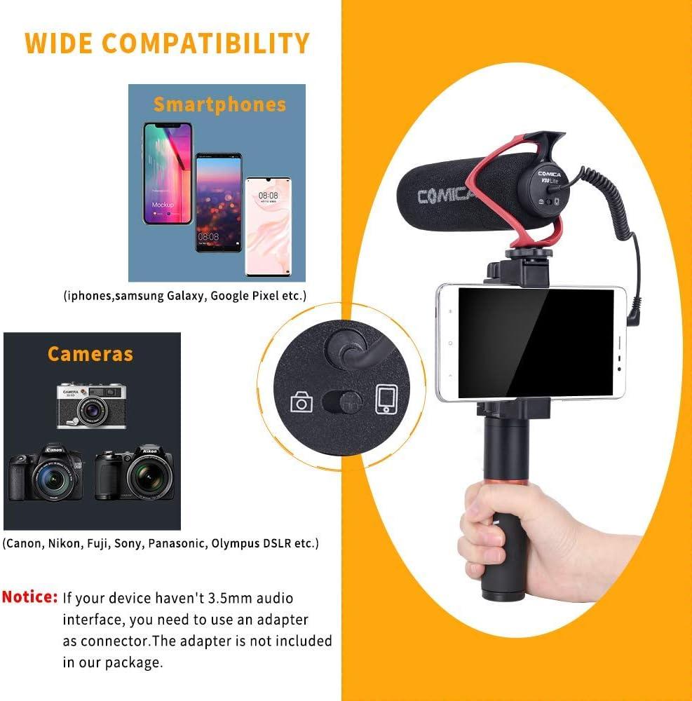 Red Comica CVM-V30 Lite vid/éo Microphone Super-Microphone /à condensateur cardio/ïde sur-Appareil-Fusil de Chasse pour Canon Nikon Sony Panasonic cam/éra//DSLR//iPhone Samsung Huawei avec 3,5 mm Jack