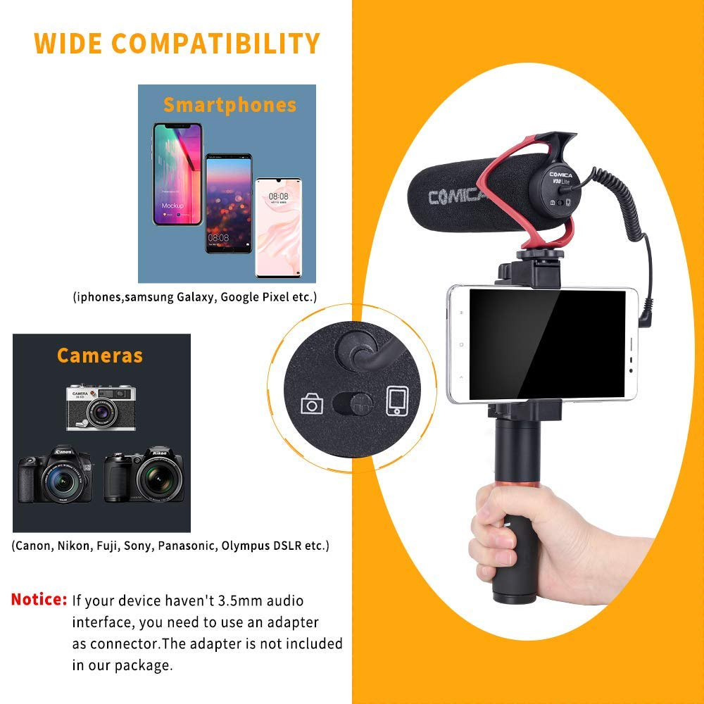 Comica CVM-V30 LITE Video Microphone Super-Cardioid Condenser On-Camera Shotgun Microphone for Canon Nikon Sony Panasonic Camera DSLR iPhone Samsung Huawei with 5mm Jack Red