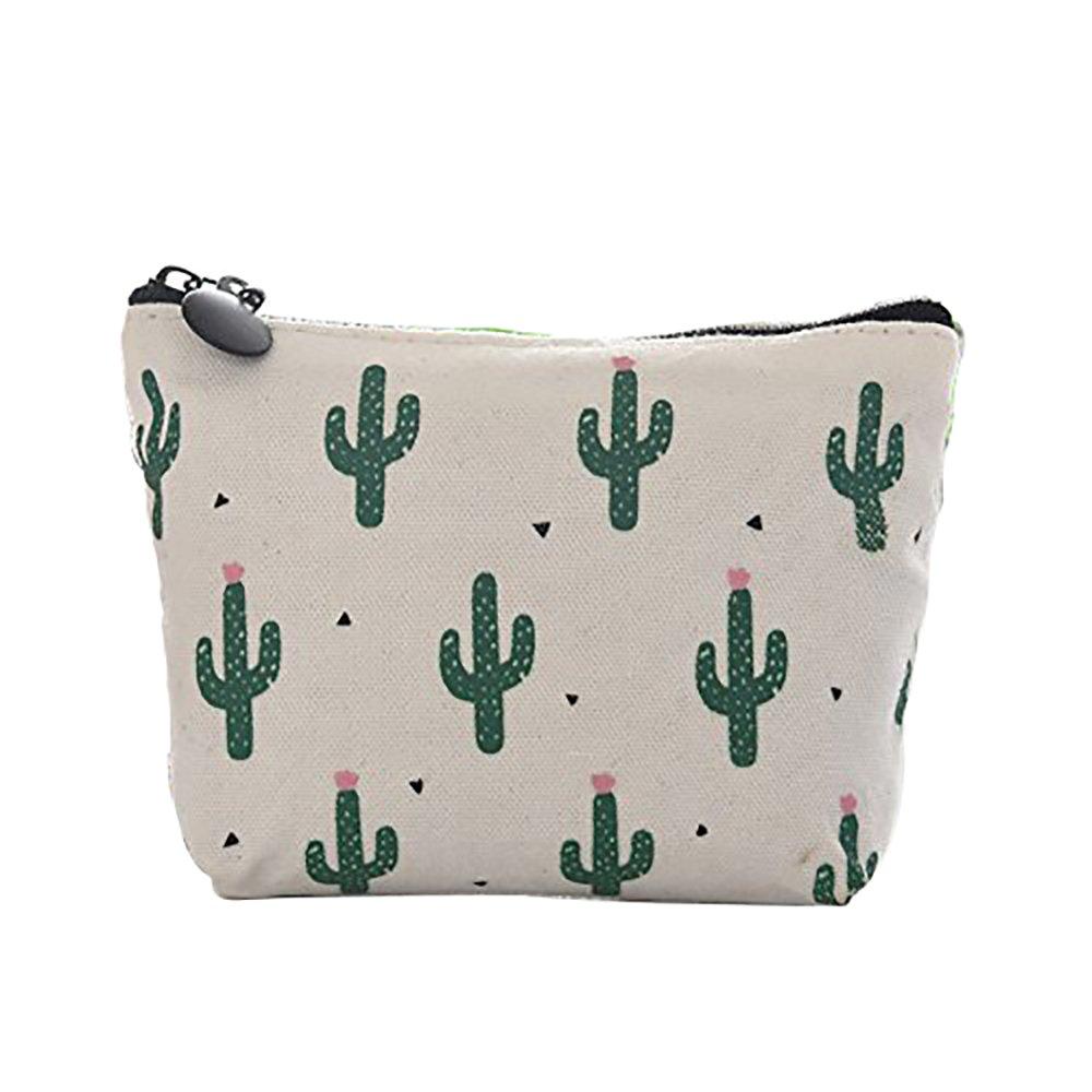 Doitsa Coin Purse Cute Green Cactus Canvas Portable Change Cash Bag Small Purse Wallet Night Deposit Bag for Lipstick Keys Headset C
