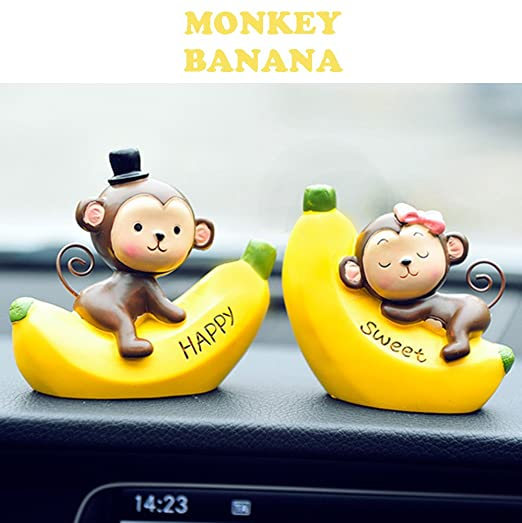 FULL WERK Creative Cute Monkeys Love Dashboard Decorations Car Home Office Ornaments Best Birthday Holiday Gift (Monkey Banana)