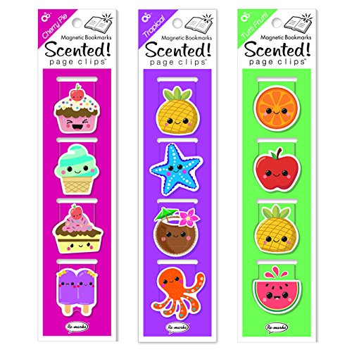 (Re-marks Scented Magnetic Page Clips (3 Pack) – 1 Each Cherry, Tutti, Tropical)