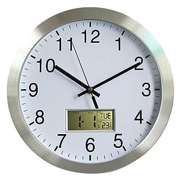 Funkwanduhr, Foxom Modern Quartz 12Zoll/30CM Funk Wanduhr Funkuhr mit  Kalender und Hygrometer für Wohnzimmer, Küche, Büro
