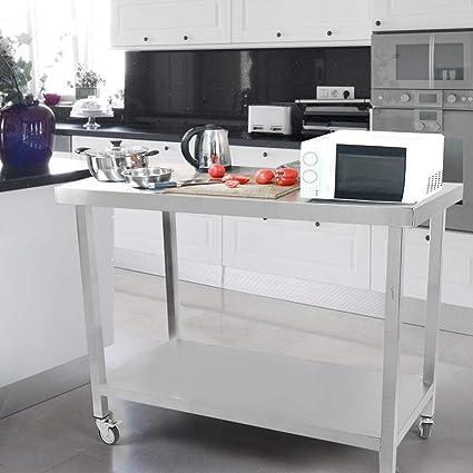 Table de Travail de Cuisine Professionnel Table de Travail Roulettes en Acier Inoxydable Table Desserte Roulante Table Pr/éparation Pour Cuisine