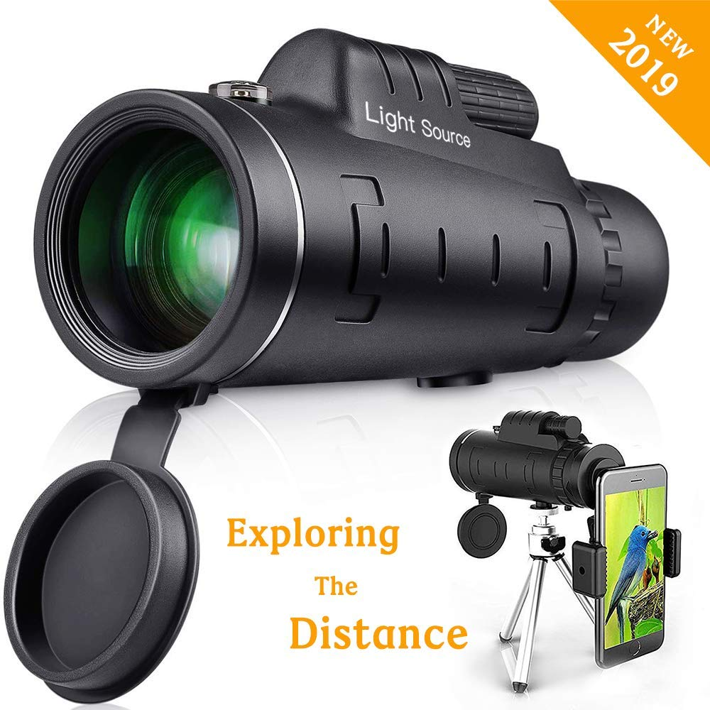 LS Monocular Telescope, 40X60 High Power HD Monocular with Smartphone Holder Tripod for Hiking, Fishing, Hunting, Bird Watching, Travelling and Other Outdoor Activities, Great gift for adults and ch