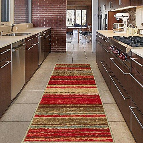 Diagona Designs Contemporary Wavy Stripes Design Non-Slip Kitchen / Bathroom / Hallway Area Rug Runner, 20 W x 59 L, Multi Color