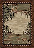 "Cheap Wildwood Brown Area Rug 5'3″x7'7"" – Deer Woods Cabin Lodge Nature Wildlife"