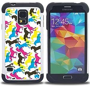 For Samsung Galaxy S5 I9600 G9009 G9008V - Horses Colorful Art Random Wallpaper Horse /[Hybrid 3 en 1 Impacto resistente a prueba de golpes de protecci????n] de silicona y pl????stico Def/ - Super Marley