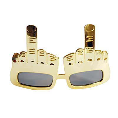 EDOBLUE Creative Middle Finger Flip Off Hand Shape Finger Silly Funny Novelty Sunglasses for Party Selfie Props: Toys & Games