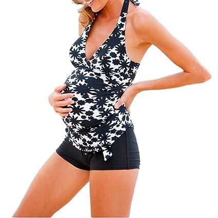 a90a03f3b6d96 Vanvler Maternity Swimwear, Women Tankini Plus Size - Pregnant Swimsuit  Stripe Print Bikinis (S