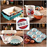 Pioneer Woman SUPER-SAVER BUNDLE- COMPLETE Flea Market Ruffle Top Bakeware Set: Rectangle Cake/Casserole, Pie Plate, Loaf, Muffin, Measuring Bowls & Pitcher- PLUS Towel & FREE Cookbook Excerpt