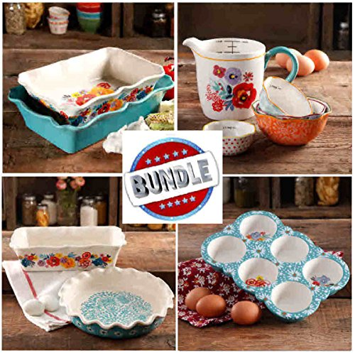 Pioneer Woman SUPER-SAVER BUNDLE- COMPLETE Flea Market Ruffle Top Bakeware Set: Rectangle Cake/Casserole, Pie Plate, Loaf, Muffin, Measuring Bowls & Pitcher- PLUS Towel & FREE Cookbook Excerpt by ThePioneerWoman