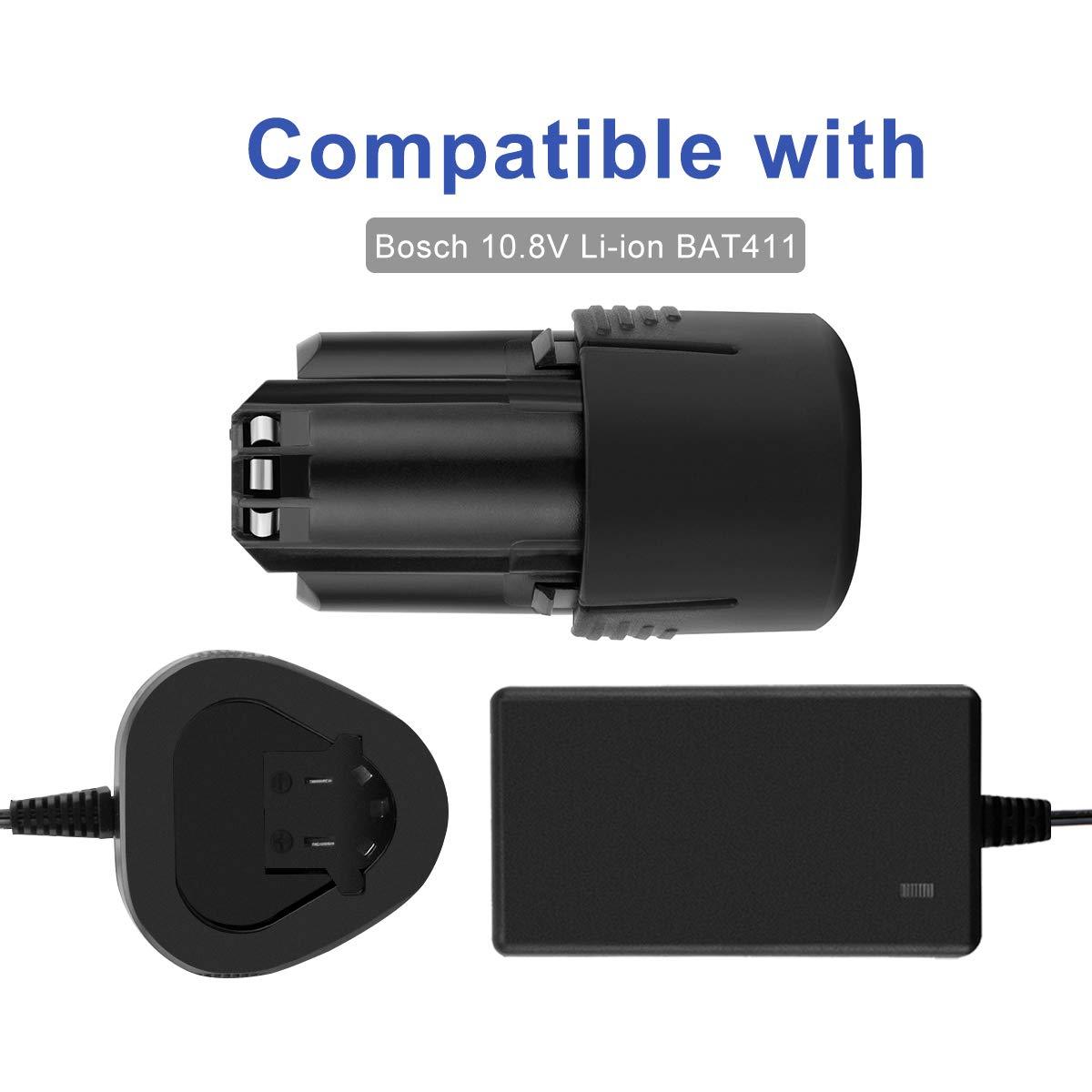 No para bater/ías de ion de Ni-MH//Ni-Cd Exmate 10.8V Cargador Compatible con Bosch BAT411 10.8V Bater/ía de Litio