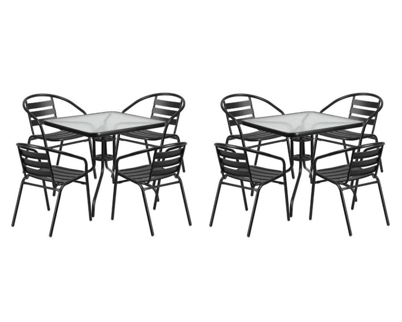 Flash Furniture 31.5'' Square Glass Metal Table with 4 Black Metal Aluminum Slat Stack Chairs (Black, 2 Set)