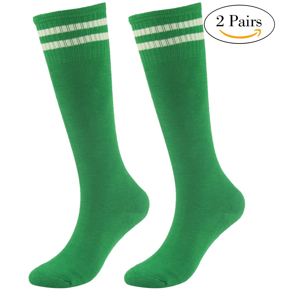 Youth School Socks Lucky Commerce Teens Knee High Compression Professional Football Sports 2 Pairs Green by Lucky Commerce