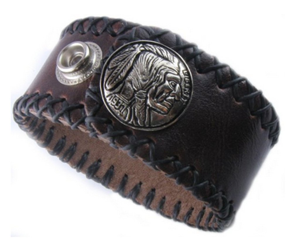 D'SHARK 1'' Wide Indian Head Design Biker Leather Bangle Bracelet Cuff Wristband for Unisex - (Black)