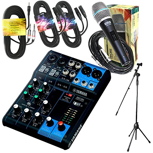 (Yamaha Package Bundle - Yamaha MG06 6-Channel Mixer + EMB Emic800 Microphone + 2 XLR XLarge Cables + 3.5mm to Dual 1/4