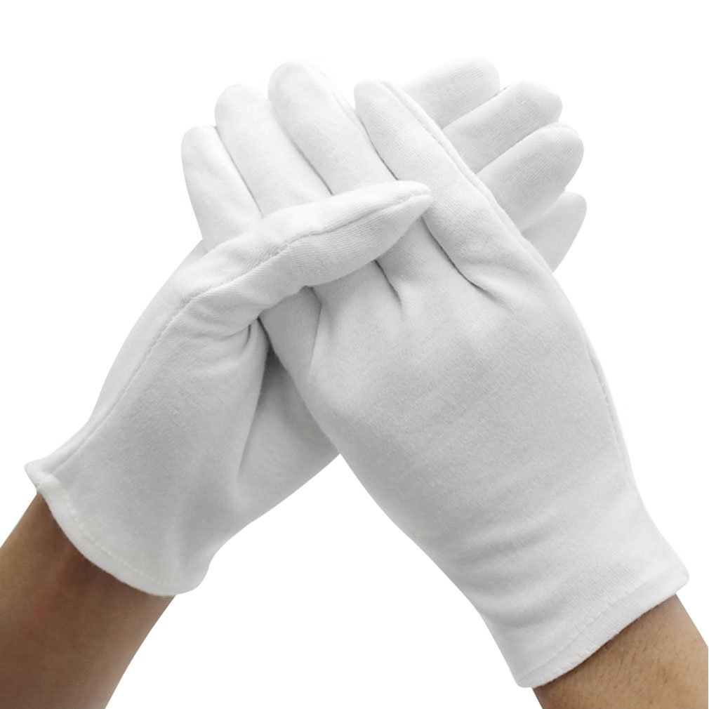 Amariver 12 Pairs White Cotton Gloves, 9.4'' Extra Large Size Thicker and Resuable Soft Works Glove for Coin Jewelry Silver Inspection