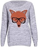 Hi Fashionz Girls Ladies Women Fox Glasses Knitted Jumper Pullover Sweater (Large, Light Gray)