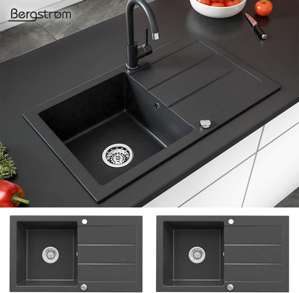 bonde rotative siphon /Évier composite en granit Bergstr/öm 440 x 760cm /Évier de cuisine encastr/é base bac