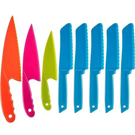 Jovitec 8 Pieces Kid Plastic Kitchen Knife Set, Childrens Safe Cooking Chef Nylon Knives for Fruit, Bread, Cake, Salad, Lettuce Knife (Color 3)