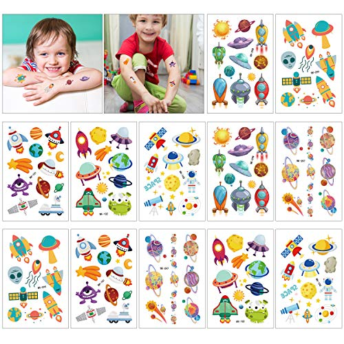 Kids Temporary Tattoos, 12 Sheets Outer Space Planet Temporary Tattoos with Space Ship for Girls & Boys Birthday Party, Outer Space Party Supplies Favors Tattoos Stickers]()