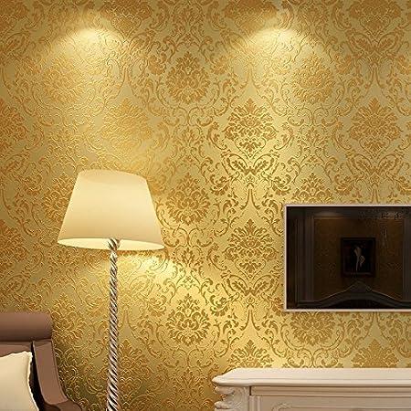 Vanme European Non Woven Wallpaper Bedroom Full Shop Sofa Living Room Tv Background Wall Paper Wallpaper 7963 Rich Golden Yellow Amazon Co Uk Kitchen Home