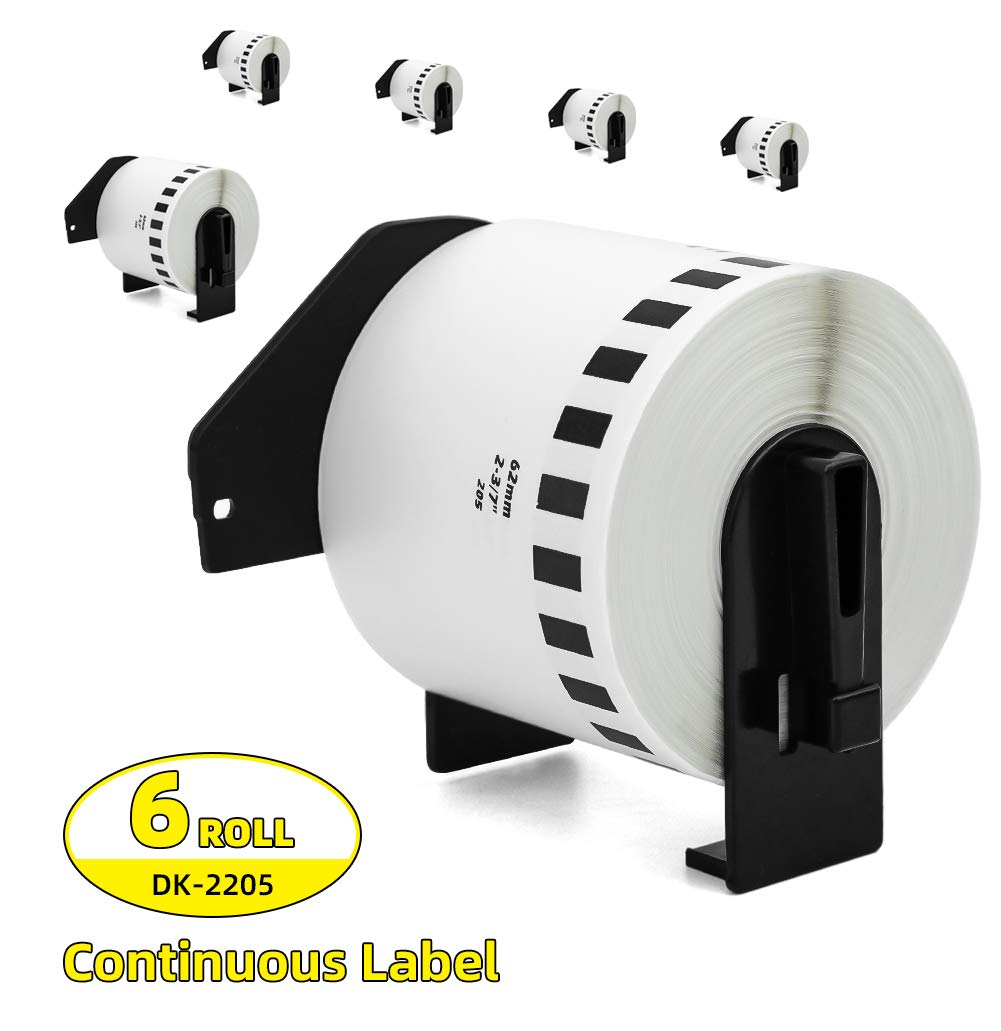 Label Orison -Replacement DK-2205 Continuous Paper Label Roll Black on White 2-3/7'' x 100' with Non-refillable Cartridge,6 Rolls by Label Orison