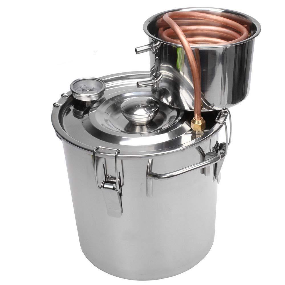 TOPQSC Kupferrohr Moonshine Still Spirits Kit Wasser Alkohol Distiller Home Brew Weinbau Kit Edelstahl Ölkessel (8 L)
