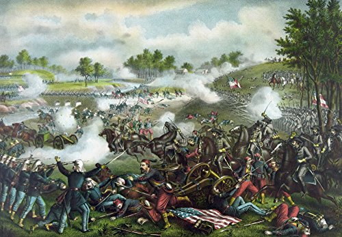 Posterazzi Vintage Civil War Painting of Union and Confederate Troops Fighting Bull Run Also Known as The Battle of Manassas Poster Print (17 x 11) ()
