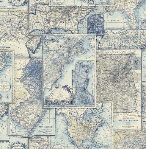Wallpaper Designer American Maps Blue and Beige Cream Background, Nautical