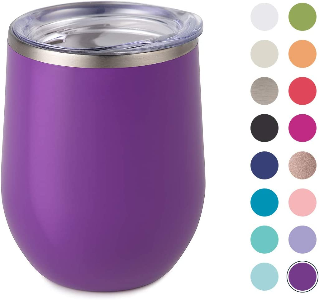 Maars Bev Stainless Steel Stemless Wine Glass Tumbler with Lid, Vacuum Insulated 12 oz Purple Cup | Spill Proof, Travel Friendly, Fun Cocktail Drinkware