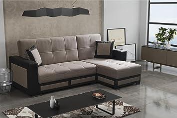 Madras Gross Stoff Und Kunstleder Ecke Sofa Bett Mit Kissen Aufbewahrung Schlafbereich Couch Wohnzimmer Bro Mbel
