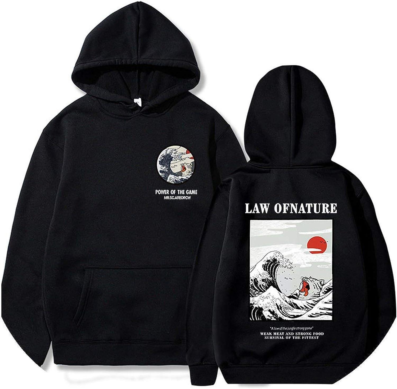 Cat Wave Printed Fleece Hoodies Winter Hip Hop Casual Sweatshirts Streetwear