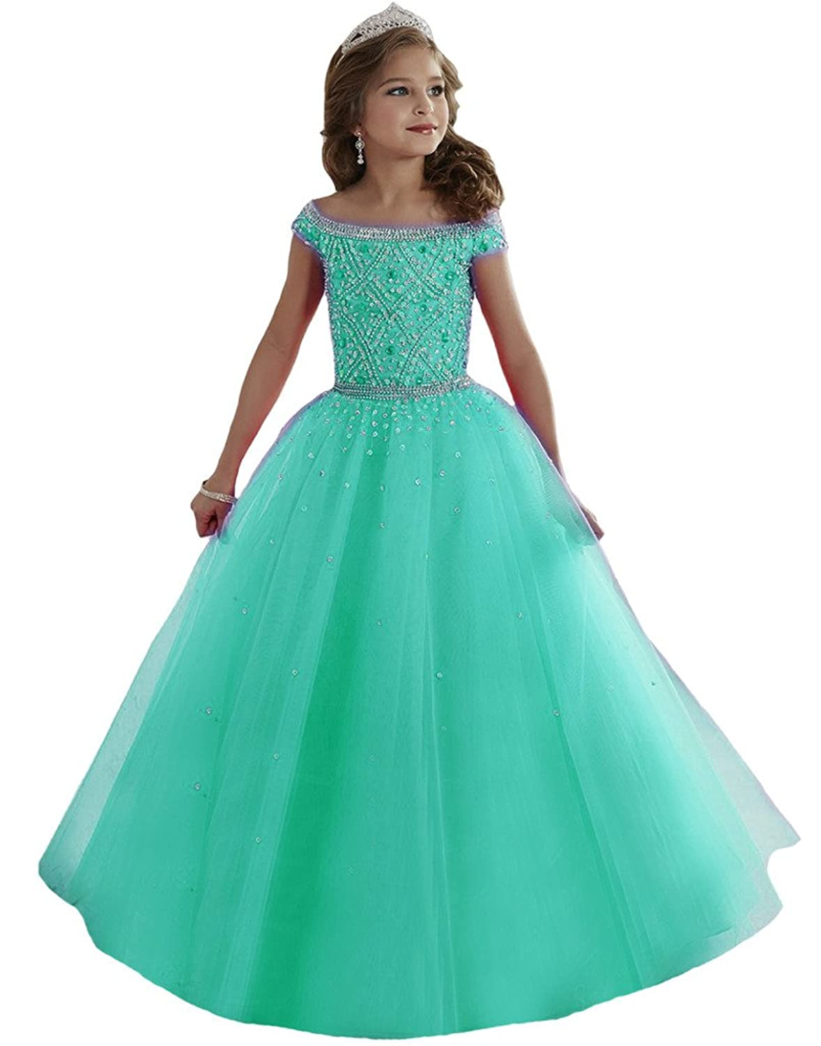 Aisha Girls' Jewel Beading Ball Gown Girls Pageant Dress Christmas