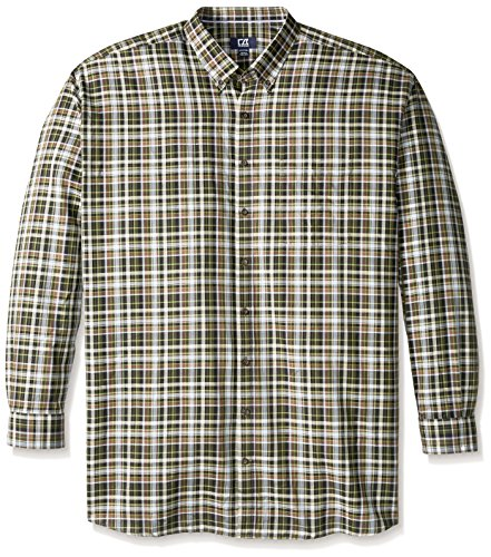 Cutter & Buck Men's Big-Tall Long Sleeve Hansen Plaid Woven Shirt, Multi, 4X/Big