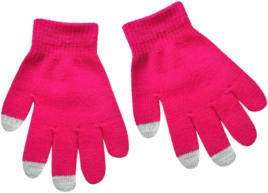 Kids Cute Multicolor Thick Thermal Gloves Knit Wool Warm Finger Mittens,Starwak Spring Fall Winter Driving Hand Wear Warmer Windbreak Coldproof Skiing Gloves for 6-12 Yrs Baby Boys Girls Hot Pink
