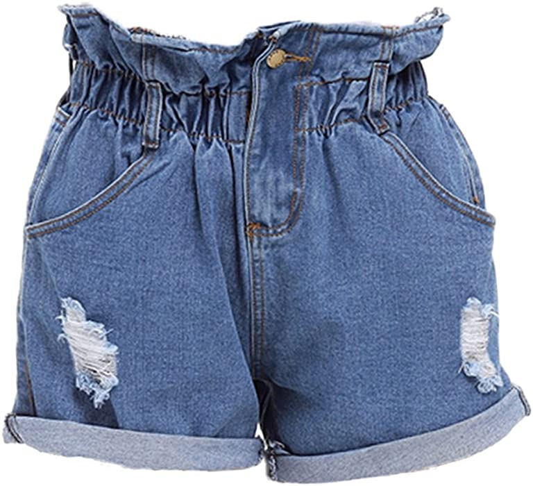d8832ae2f6 BossKey Women s High Waisted Ripped Elastic Denim Shorts Plus Size Casual