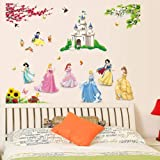 Himani Decors Cute Princess Cinderella with Pumpkin Wagon Barbie Disney Cartoon PVC Vinyl Wall Sticker (110 x 85 cm, Multicolour)