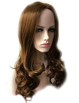 Pelucas Europa y los Estados Unidos moda dama marrón gradiente largo pelo rizado en la peluca