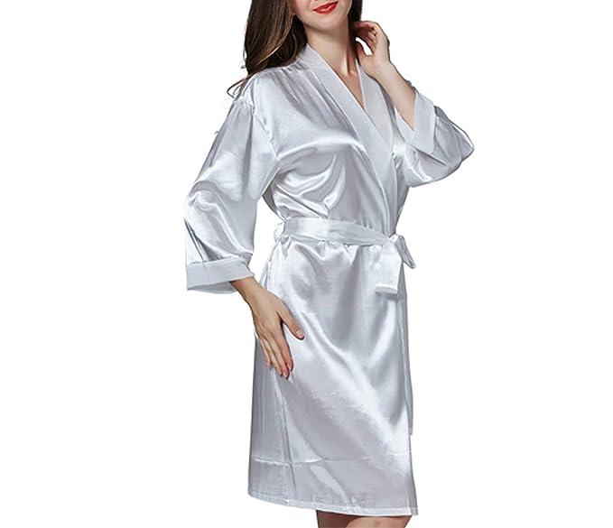 Pijamas para Las Mujeres Bata de Seda Ropa de Dormir Ropa de casa Camisones con Cuello en V Bata Femenina Ropa de Dormir, Csseebcpbaise: Amazon.es: Ropa y ...