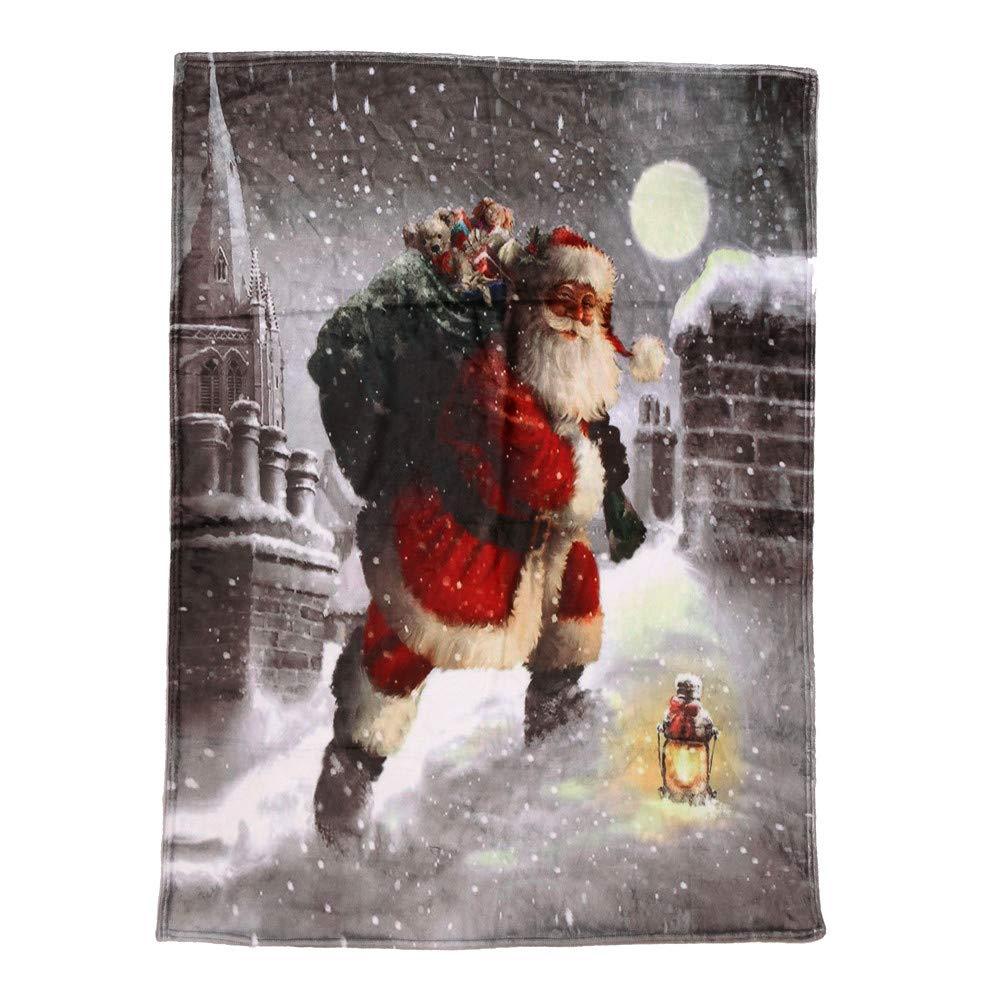 Coerni Christmas Throw Blanket Flannel Sofa Warm Sofa Bed Plush Blanket