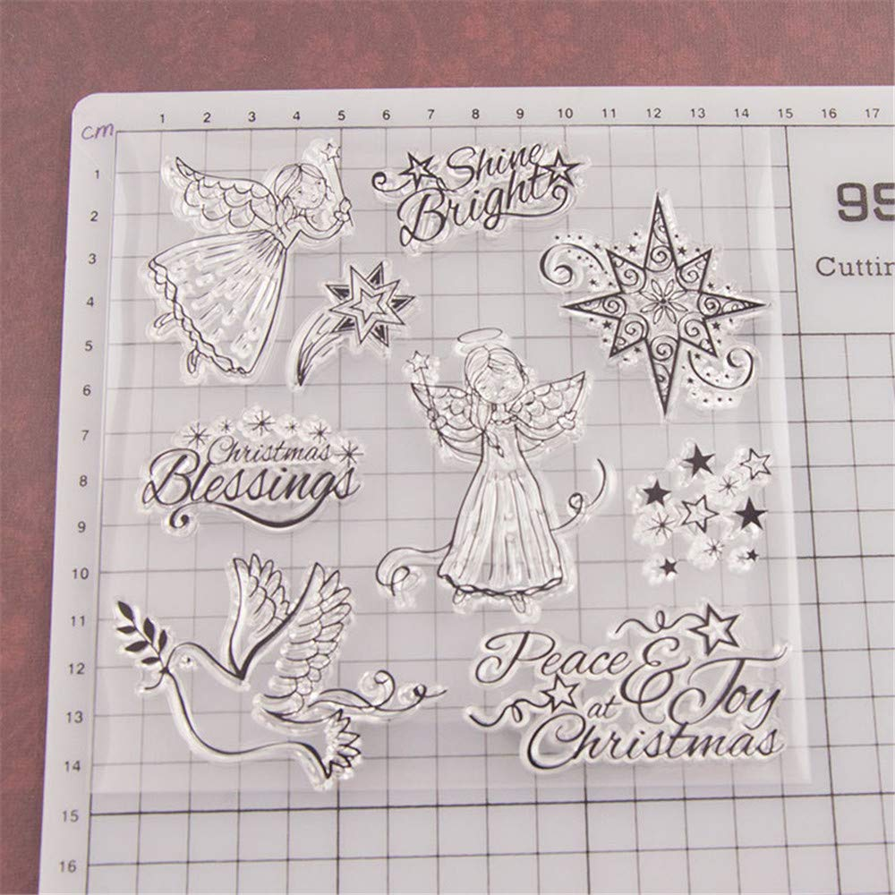 Merry Christmas Flying Angles Shine Bright Peace Joy Christmas Stamps Rubber Clear Stamp//Seal Scrapbook//Photo Album Decorative Card Making Clear Stamps