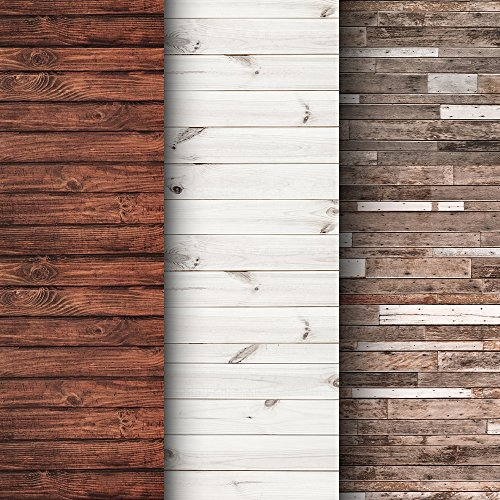 Paper Backdrops - Premium Background Paper For Photography - 3 Pack - 4x12 Foot Rolls - Seamless Designs - Ideal Paper Backdrop For Your Home - Perfect Wood Photography Backdrops for Baby Pictures, Headshots, and More!