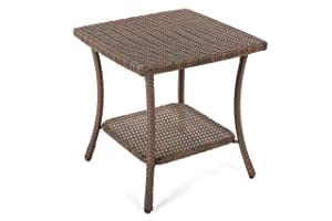 W Unlimited SW1616-ET Leisure Collection Outdoor Garden Patio Furniture End Table, Dark Brown