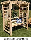 Amish-Made ''Cambridge'' Style Pine Arbor with Swing - 6' Wide Walkthrough, Unfinished